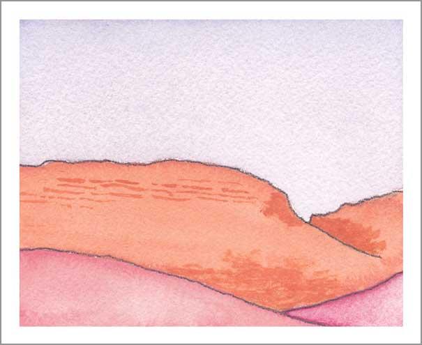 Mingus Day #25. 4.25 x 5.5 in. Watercolor on Arches 140 lb. cold pressed paper. © 2018 Sheila Delgado.