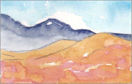 Mingus Day #37. 3.5 x 5.75 in. Watercolor on Arches 140 lb. cold pressed paper. © 2018 Sheila Delgado.