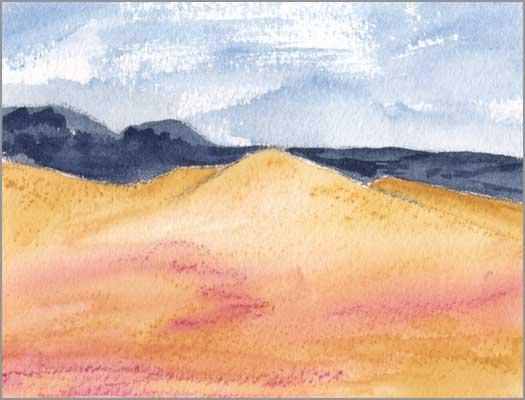 Mingus Day #51. 4 x 5.25 in. watercolor on Arches 140 lb. cold pressed paper. © 2018 Sheila Delgado.