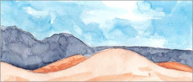 Mingus Day #58. 4 x 10 in. watercolor on Fabriano 140 lb. cold pressed paper. © 2018 Sheila Delgado.