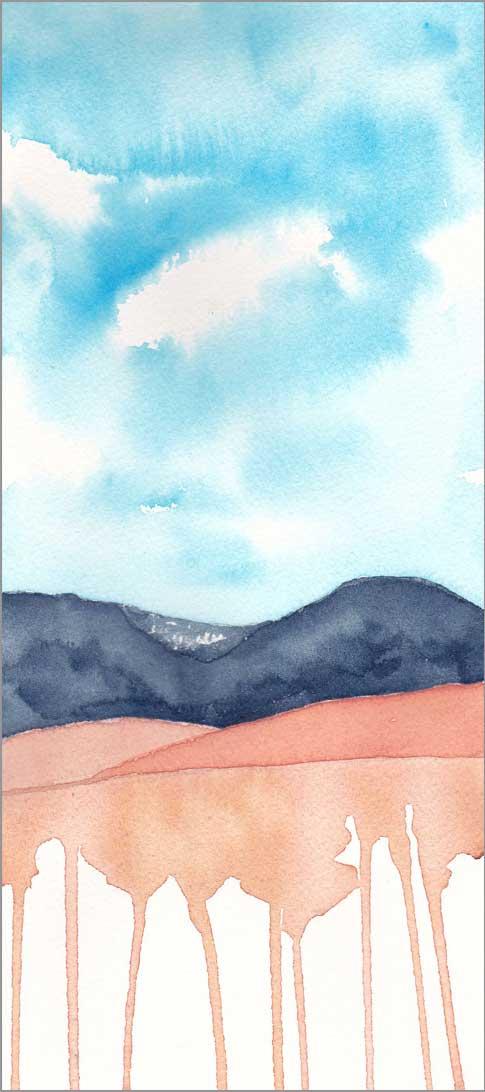 Mingus Day #66. 5 x 11.5 in. watercolor on Arches 140 lb. cold pressed paper. © 2018 Sheila Delgado.