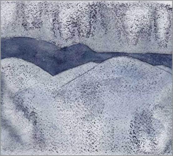 Mingus Day #95. 6 x 5.5 in. watercolor on Arches 140 lb. cold pressed paper. © 2018 Sheila Delgado.