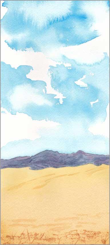 Mingus #93 cropped. 11,5 x 5.5 in. watercolor on Arches 140 lb. cold pressed paper. © 2018 Sheila Delgado.