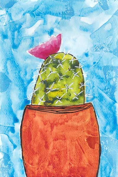 Desert Bloom. 4 x 6 in. watercolor & gesso on  paper. © 2019 Sheila Delgado.