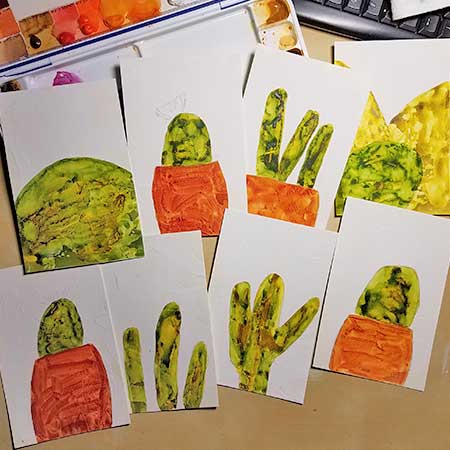 Watercolor postcards in progress. SMD
