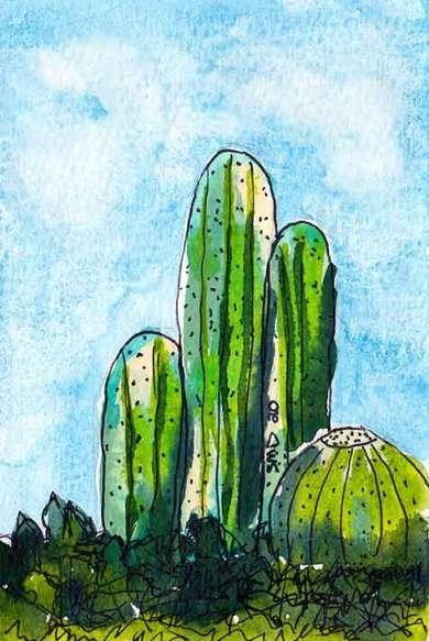 Congregation. 4 x 6 watercolor & pen on paper. © 2020 Sheila Delgado.