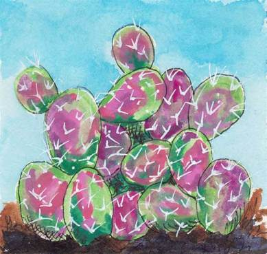 Purple Prickly Pear, 4 x 4 gouache on Arches 140 lb. cold-pressed paper. © 2020 Sheila Delgado.