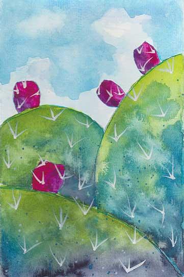 Cactus, 5.5 x 8.5, watercolor on paper, © 2020 Sheila Delgado.