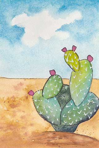 Prickly Pear, 4 x 6 watercolor on Arches 140 lb. cold-pressed paper. © 2020 Sheila Delgado.
