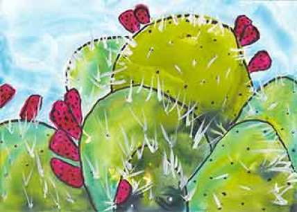 Christine's Cactus #1. 4 x 6 watercolor & pen on Yupo. © 2020 Sheila Delgado.