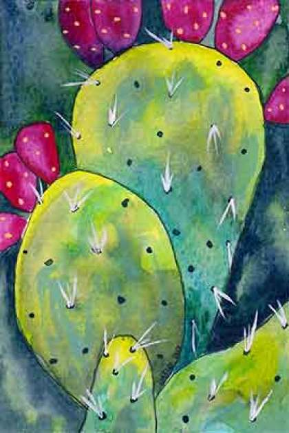 Christine's Cactus #2. 4 x 6 watercolor & pen on paper. © 2020 Sheila Delgado.