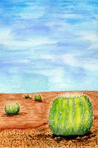 Ball Cactus, 4 x 6, watercolor on Arches 140 lb. cold-pressed paper. © 2021 Sheila Delgado.