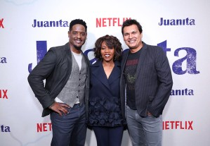 """NEW YORK, NEW YORK - MARCH 07: (L-R) Blair Underwood, Alfre Woodard and Adam Beach attend """"Juanita"""" Special Screening on March 07, 2019 in New York City. (Photo by Monica Schipper/Getty Images for Netflix)"""