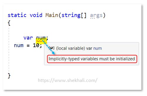 var variable declaration in c#