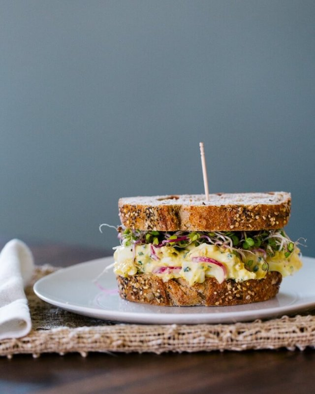 Healthy sandwich recipes radish and egg salad sandwiches.