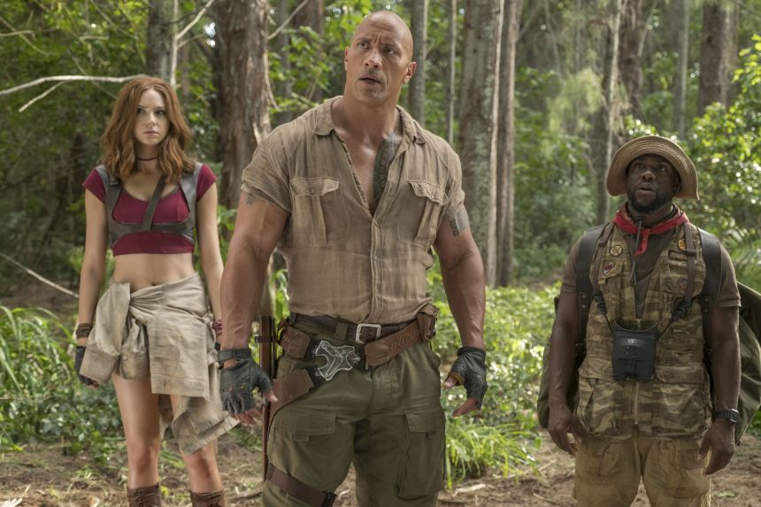 """Editorial use only. No book cover usage.Mandatory Credit: Photo by Frank Masi/Columbia/Sony/Kobal/Shutterstock (9307373d) Karen Gillan, Dwayne Johnson, Kevin Hart """"Jumanji: Welcome to the Jungle"""" Film - 2017"""
