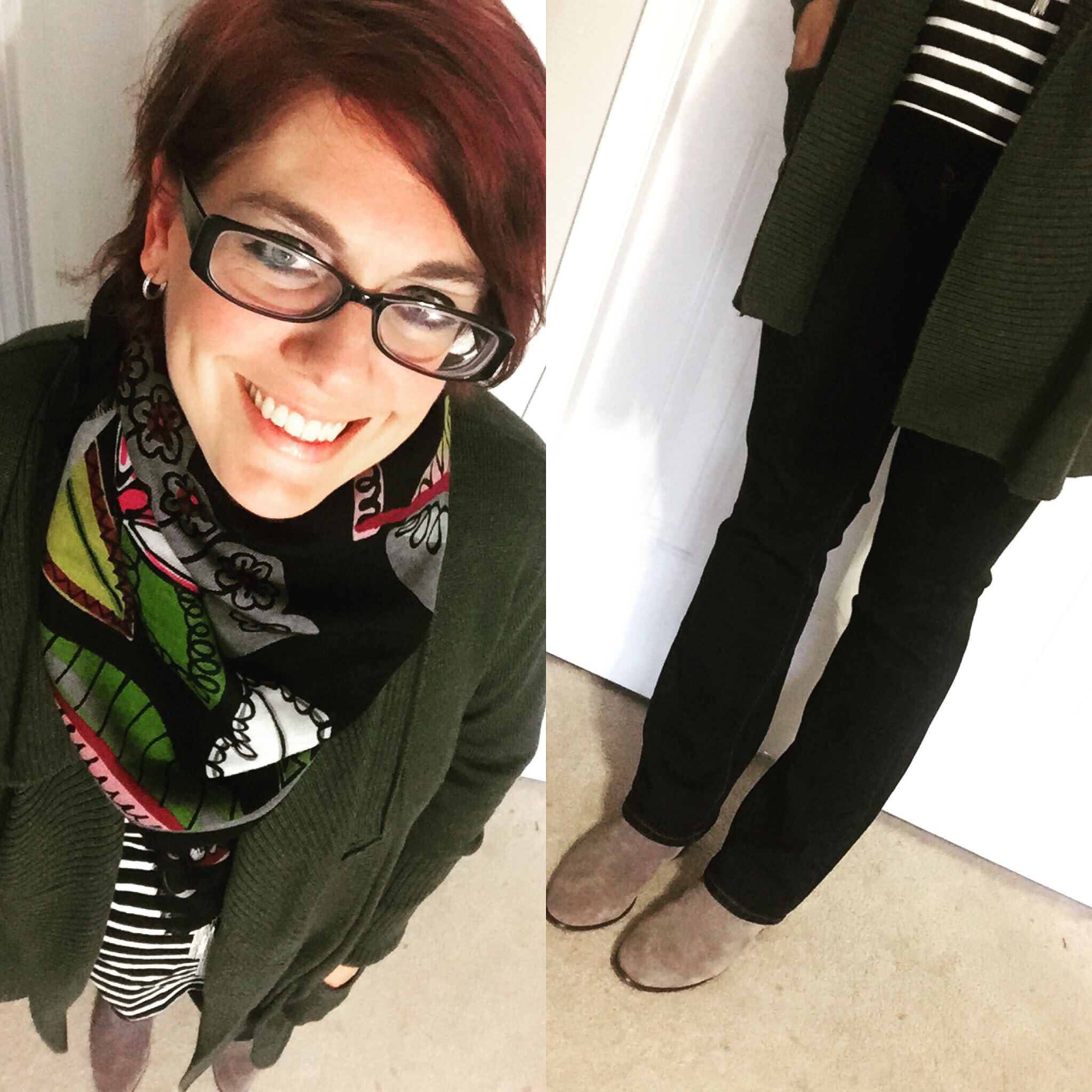 Olive Green Cardigan and Garlic Olive Hummus