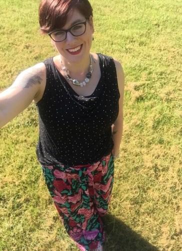 floral palazzo pants and polka dot top
