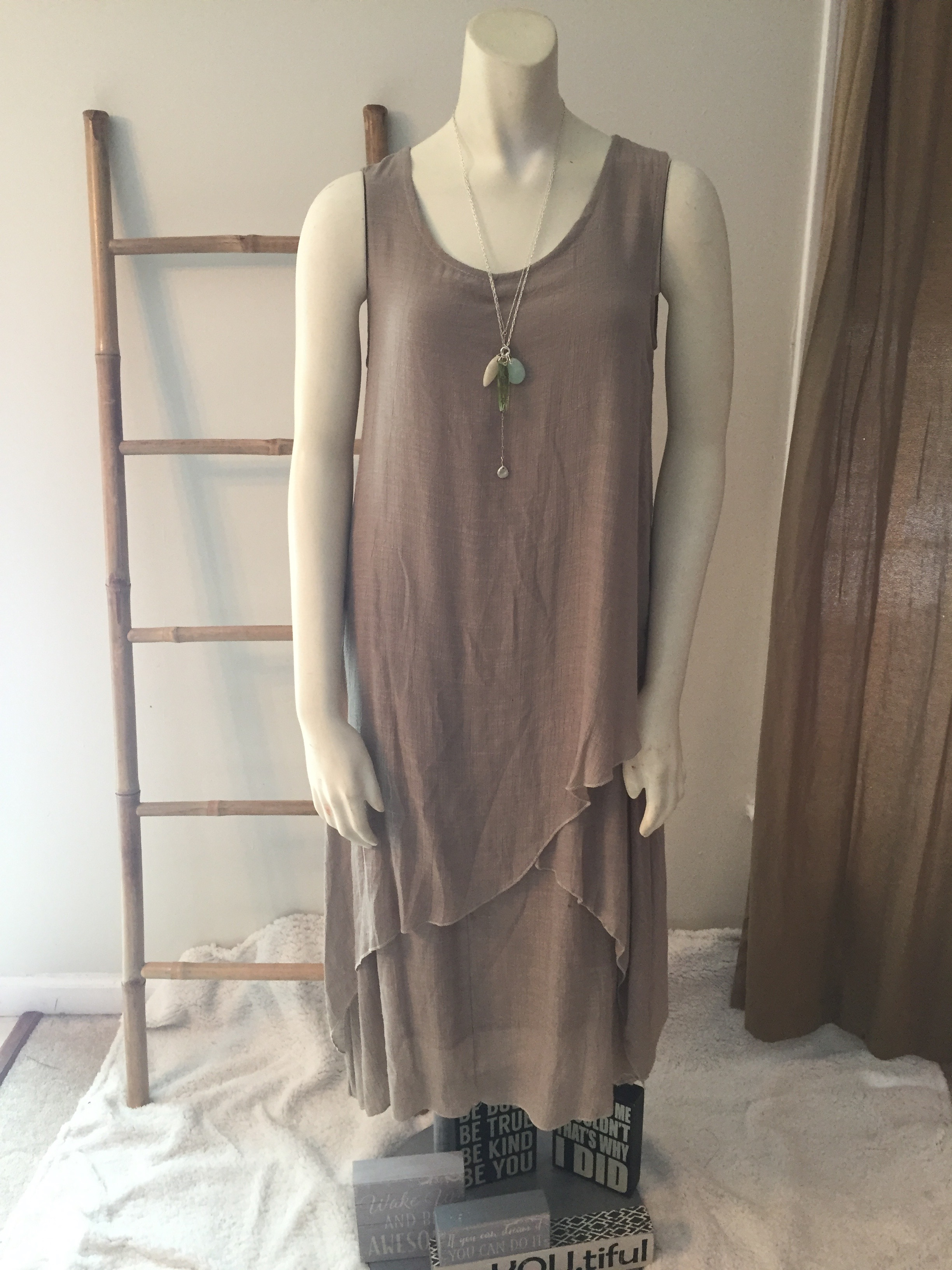 Tan Layered Tunic Dress