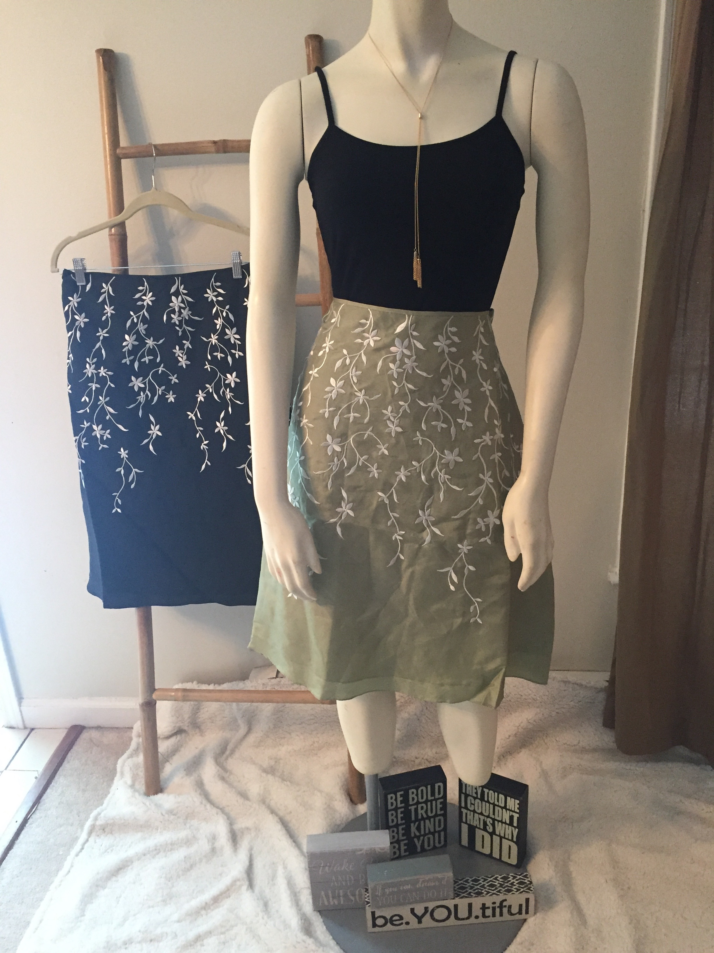 Silk Floral Embroidered Skirt