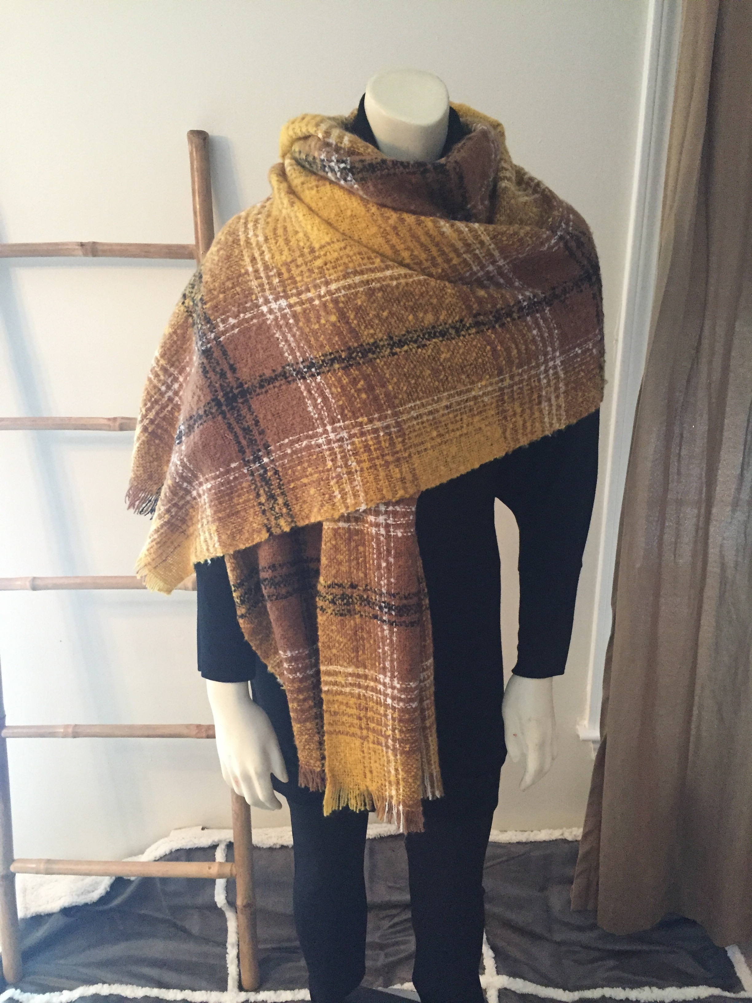 Yellow Plaid Blanket Wrap Scarf