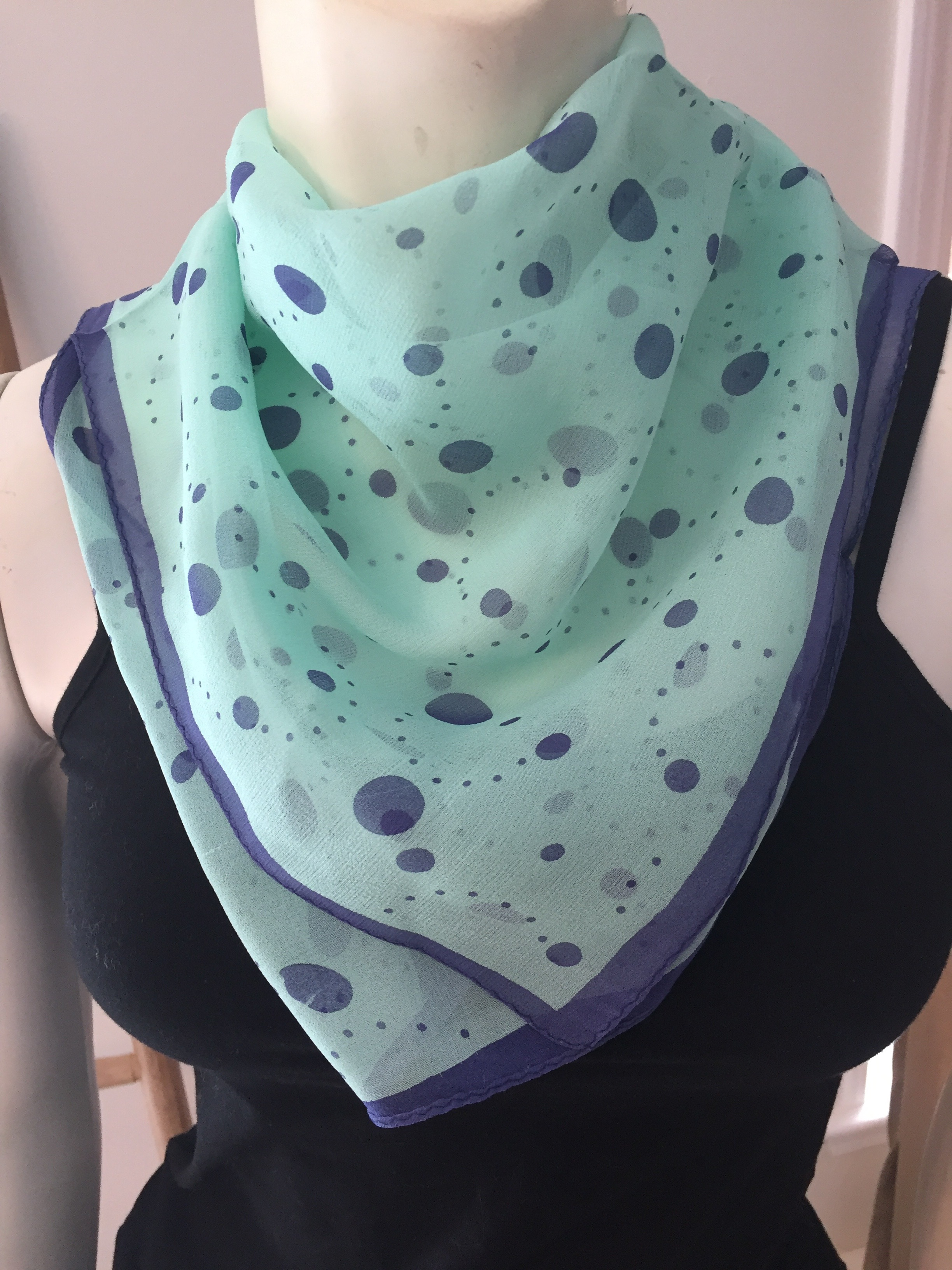 Teal and Blue Polka Dot Silk Neckerchief