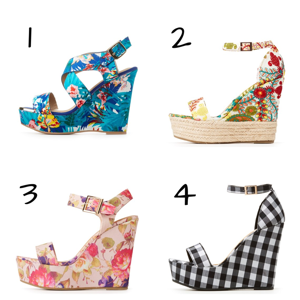 09c5e9a6e32b Bamboo Floral Espadrille Wedge Sandals. 3. Bamboo Floral Wedge Sandals. 4.  Bamboo Gingham Ankle Strap Wedge Sandals.