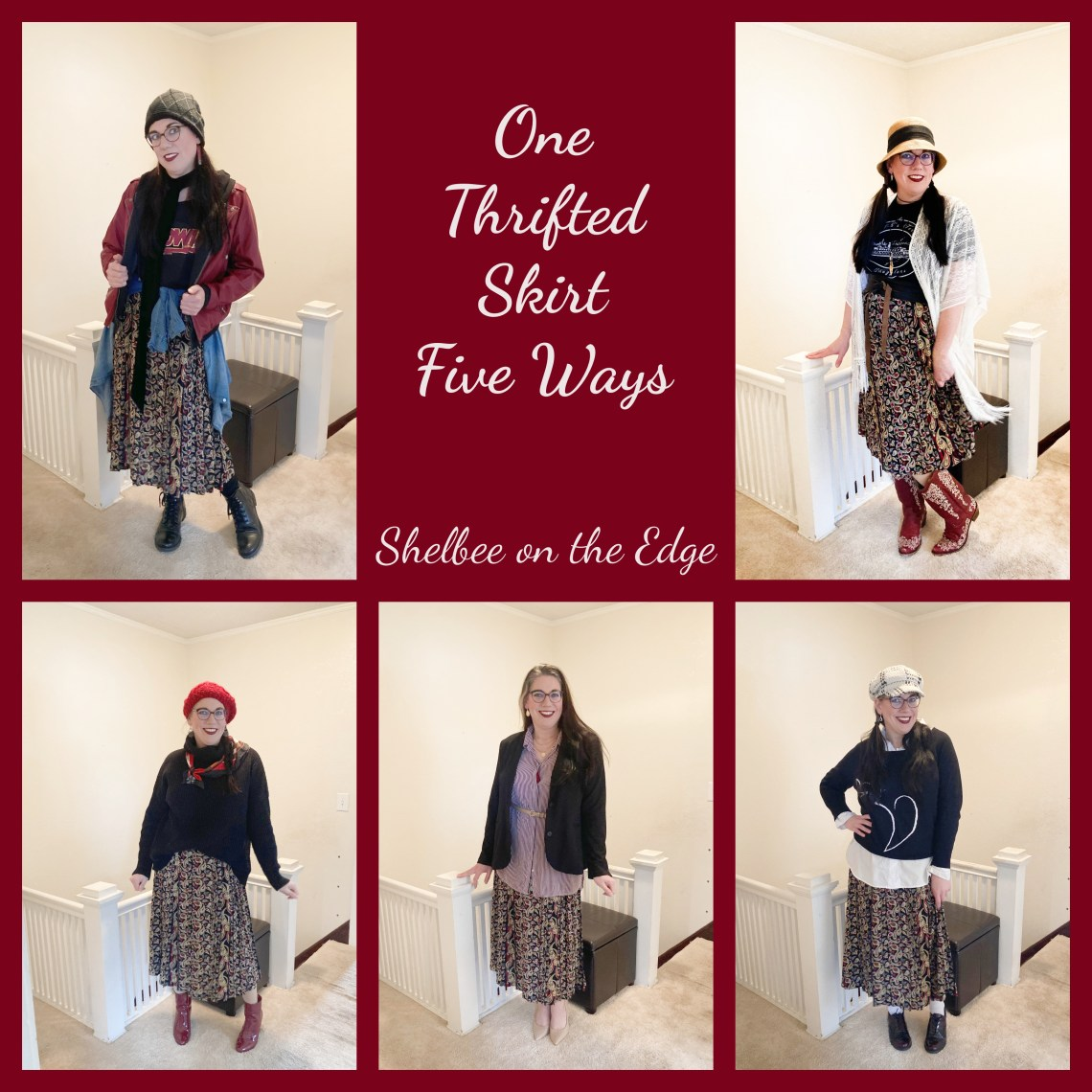 paisley skirt styled 5 different ways