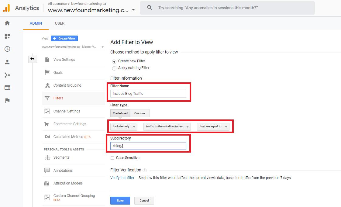 Filter Blog Traffic in Google Analytics