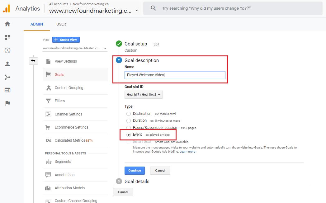 Google Analytics Event Goal 1