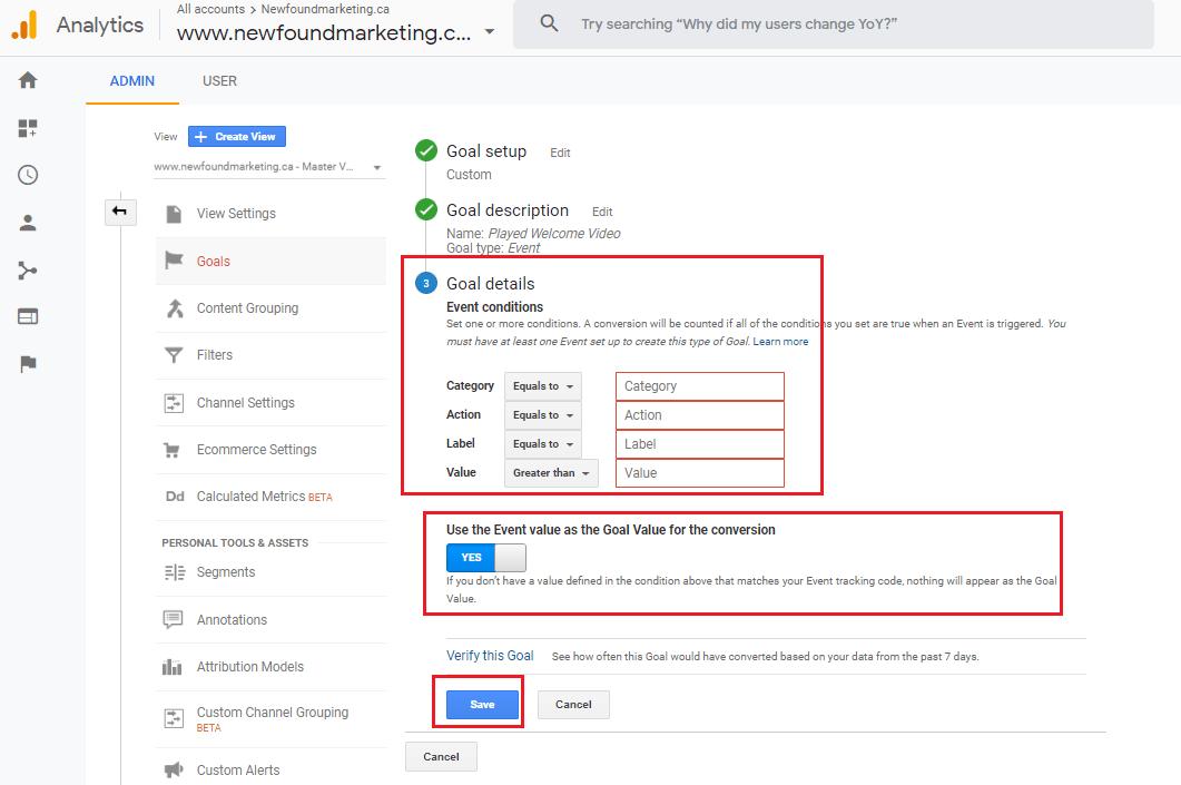Google Analytics Event Goal 2