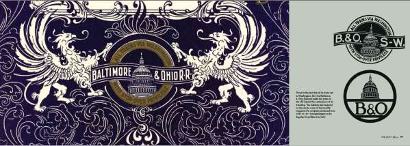 On the left of this double-page spread from Logomotive is the royal blue cover of the monthly magazine the Baltimore & Ohio Railroad published for passengers on its Royal Blue line and on the right two examples of its logo featuring the dome of the US Capitol.