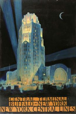 In this oil painting by J. Floyd Yewell Buffalo Central Terminal is dramatically lit against a night sky with a crescent moon. The lettering in orange panels below reads 'Central Terminal Buffalo – New York New York Central Lines'.