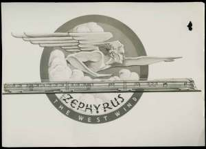 Black and white sketch from 1934 of Zephyrus, god of the west wind, pointing to a streamline future above a speeding diesel express.