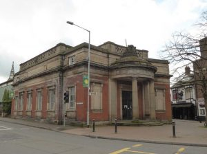 In this colour photograph taken by Julia Chandler, the Old Borough Library of Stafford stands empty after being sold by the council.