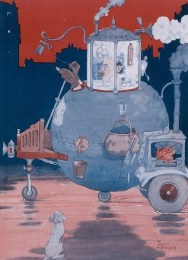 Colour illustration by Heath Robinson of his patented personal protection equipment, made of steel with 365-degree sealed-surround visor.