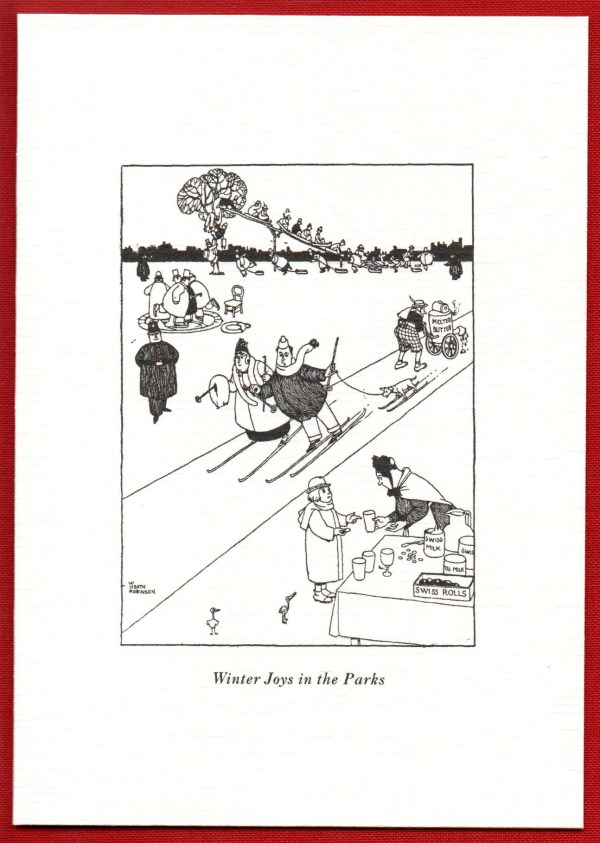 Scan of a comical christmas card from Heath Robinson