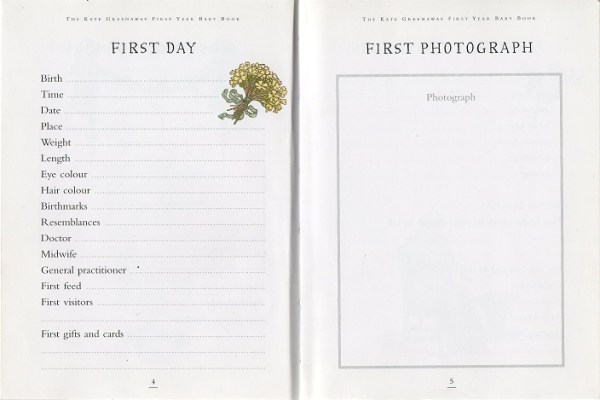 On pages 4 and 5 of The Kate Greenaway First Year Baby Book are spaces to record the date and time of the birth, first visitors and other easily forgotten details of the First Day and to paste in the First Photograph.
