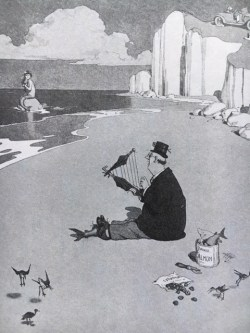 Drawing of beach scene by Heath Robinson.