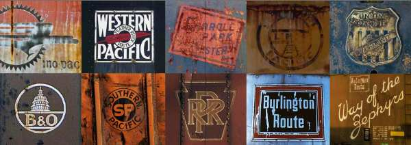 Rusting logos photographed on the sides of wagons and locomotives in the 1970s recall the great days of the Missouri Pacific, Western Pacific, Carroll Park Western, Southern Pacific, Union Pacific, Baltimore & Ohio, Pennsylvania Railroad, Burlington Route and Way of the Zephyrs.