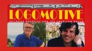Colour portraits of Ian Logan and Jonathan Glancey are superimposed on the cover of their book Logomotive.