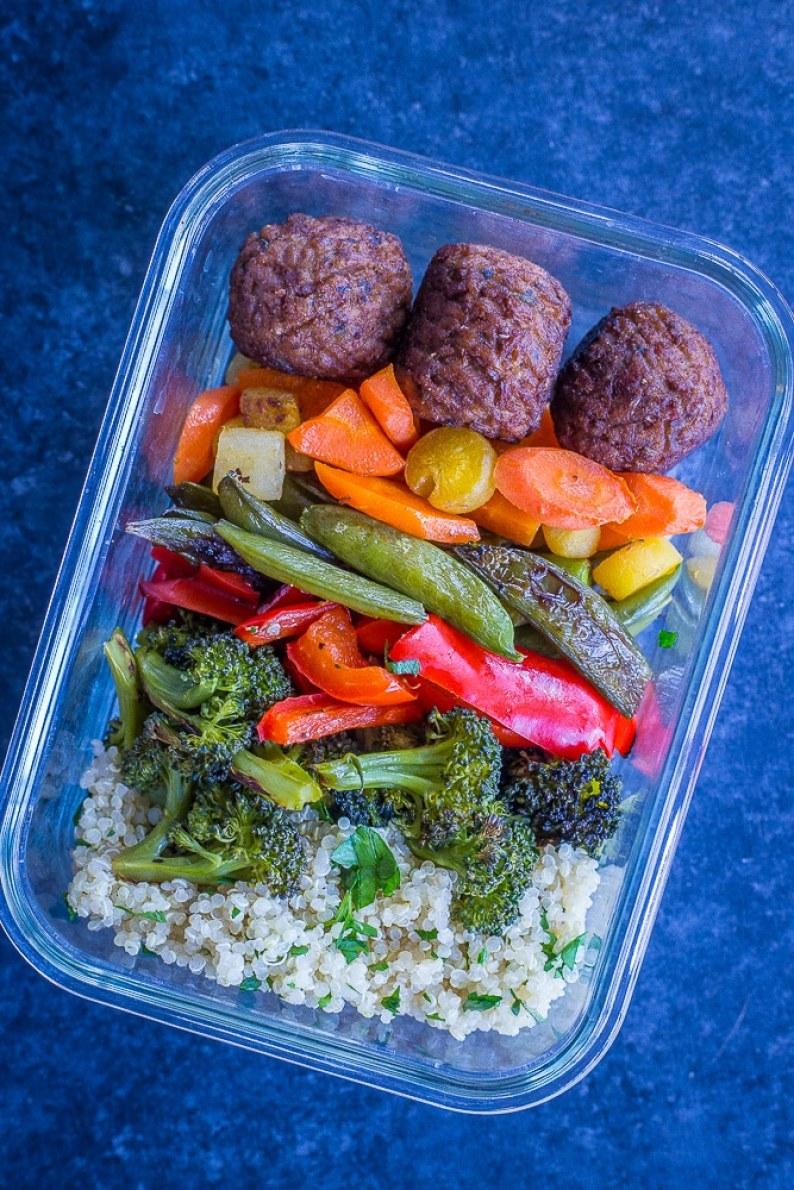 Meatless meatball meal prep bowls