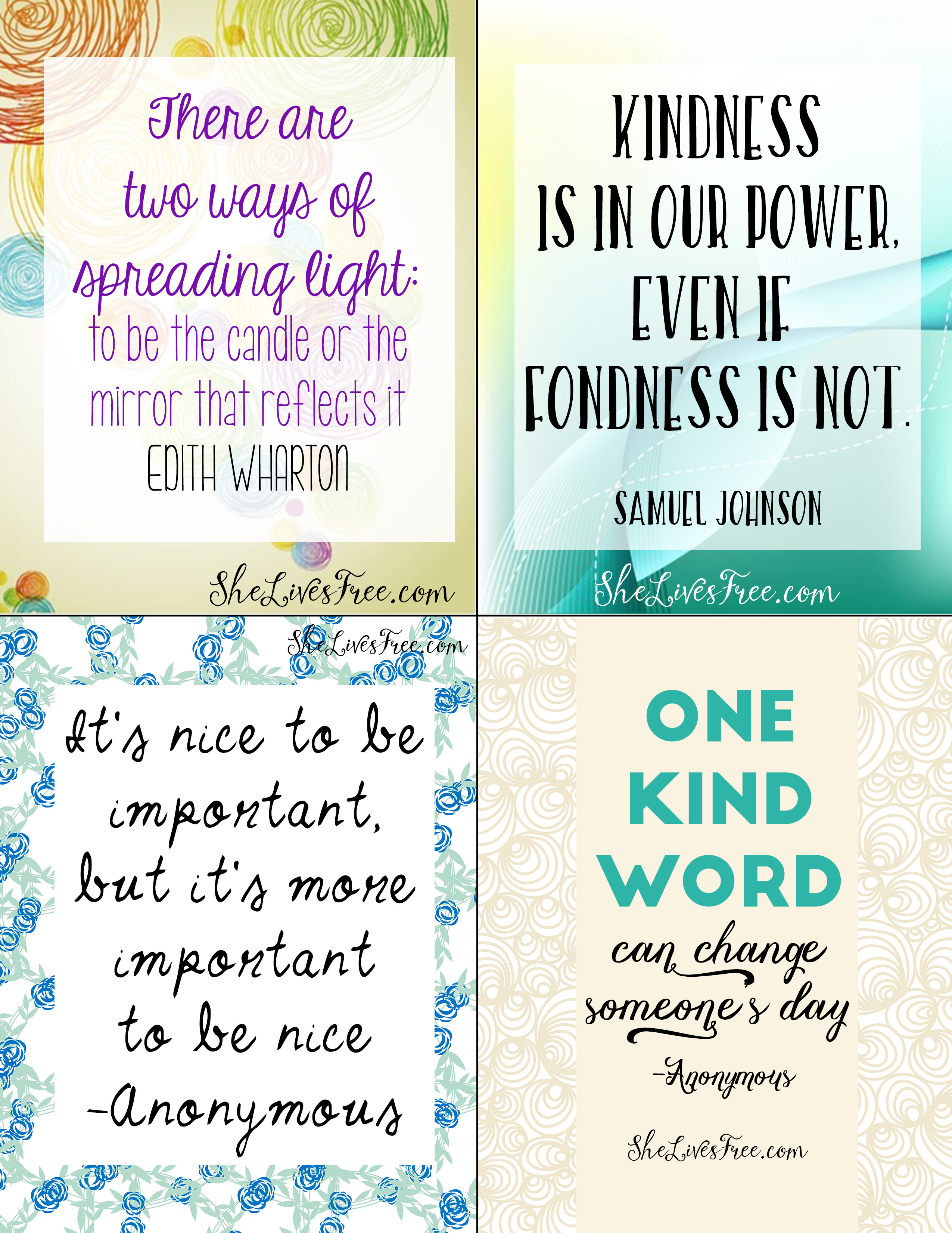 Free Printable Quotes To Inspire Kindness Lunch Notes For
