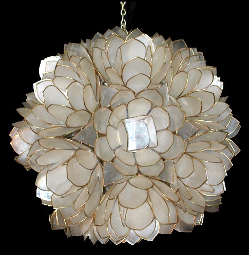 Click Here To Go Back Capiz Lotus Flower Chandelier