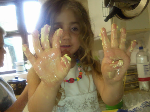 Ella with butter covered hands!