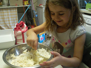 KayCee mixing ingredients for millionaire's shortbread