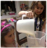 KayCee making banana mango shake