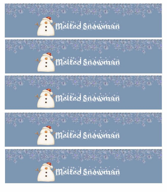 melted snowman label edible gifts