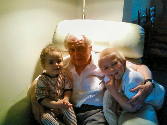 Aiden and KayCee with Grandad