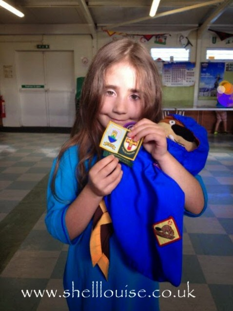 Ella's Beaver Investiture ceremony - she's very happy to be a Beaver
